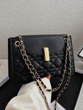 Rhombic Threaded Hasp Chain Shoulder Bag
