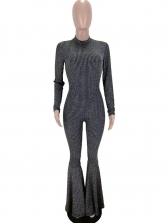 Fashion Glitter Long Sleeve Flared Jumpsuit