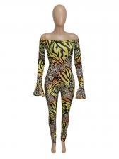 Fashion Leopard Print Off The Shoulder Jumpsuit
