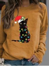 Euro Christmas Black Cat Pattern Female Sweatshirt