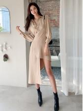 Simple Irregular Hem Long Sleeve Shirt Dress
