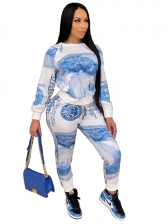 Fashion Dollars Print Leisure Two Pieces Trouser Set