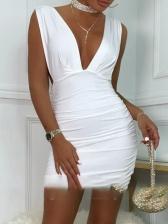 Sexy V Neck Backless Sleeveless Bodycon Dresses