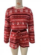 Leisure Snowflake Home Sleepwear Short Two Pieces Set