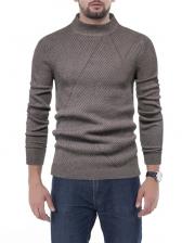 Solid Mock Neck Knitting Sweater For Men