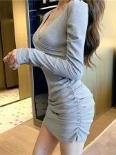 Club Deep V Neck Ruched Long Sleeve Dress