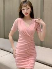 V Neck Sequined Short Sleeve Dress
