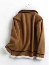 Winter Plush Contrast Color Short Coat