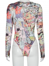 Colorful Print Crew Neck Bodysuit