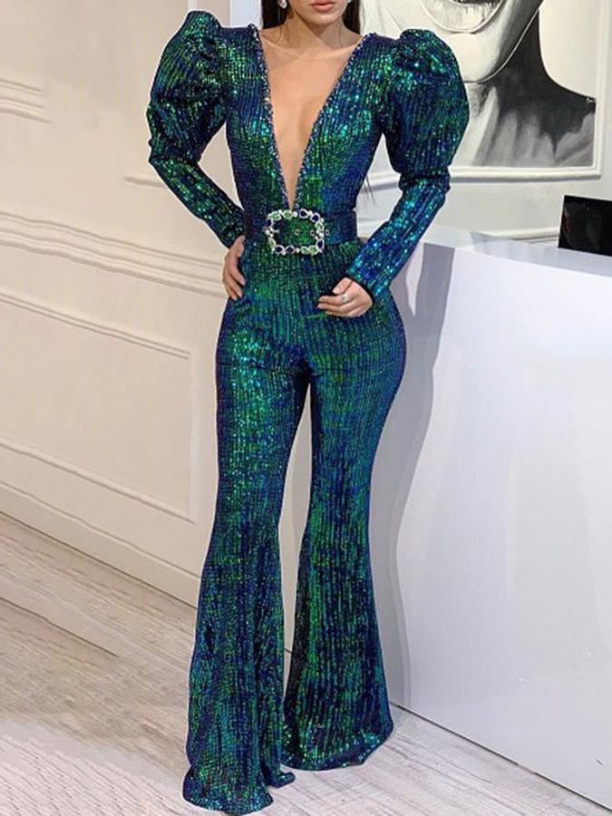 Deep V Puff Long Sleeve Sequin Jumpsuit