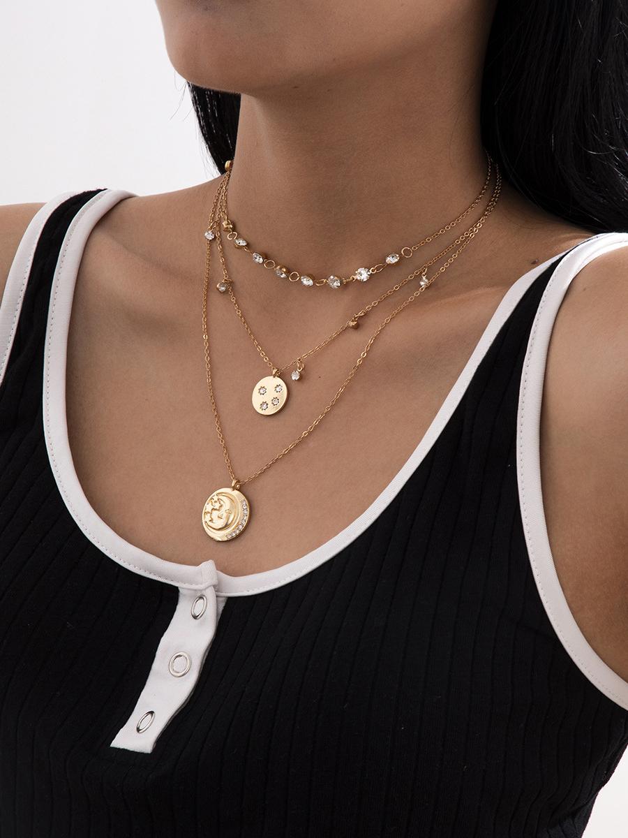 Rhinestone Simple Pendant Design Women Layered Necklace