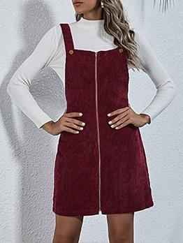 Corduroy Zipper Up Solid Sleeveless Dress