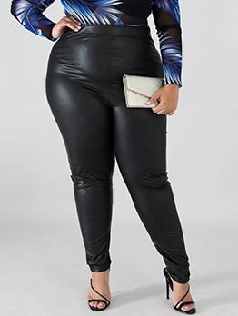Fashion Pu Hot Stamping Plus Size Skinny Pants