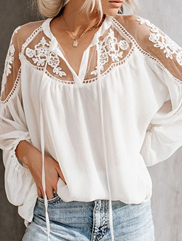 See Through Lace Patchwork Ladies Blouse