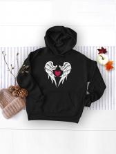 Euro Style Wing Print Black Pullover Hoodies