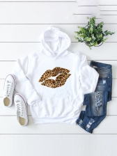 Leopard Lips Print Loose Hoodies For Autumn