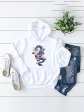 Colorful Dragon Print Pullover Fleece Hoodies