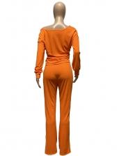 Solid Casual V Neck Long Pants Set