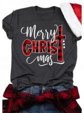 Merry Christmas Printed Short Sleeve Tee Shirts