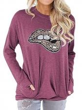 Lips Print Pocket Sweatshirts For Women