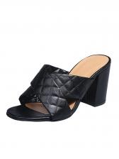 Round Toe Crossed Upper Heeled Ladies Slippers