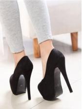 Stylish Suede Round Toe Stilettos Platform Heels