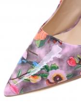 Euro Flower Printed Slip On High Heel Shoes
