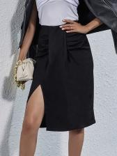 Vintage Side Slit Draped Black Skirt