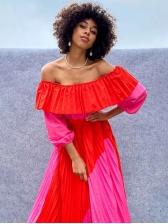Color Block Pleated Off Shoulder Maxi Dresses