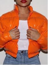 Glossy Solid Long Sleeve Ladies Puffer Coat