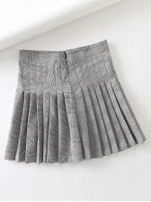 Pleated Plaid Pocket High Waisted Skirt