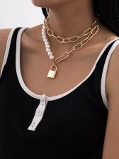 Temperament Faux-Pearl Lock Pendant Necklace