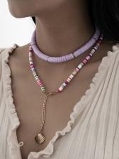 Bohemian Contrast Color Shell Pendant Necklace