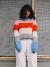 Contrast Color Crew Neck Sweater