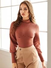 Autumn Solid Mock Neck T Shirt