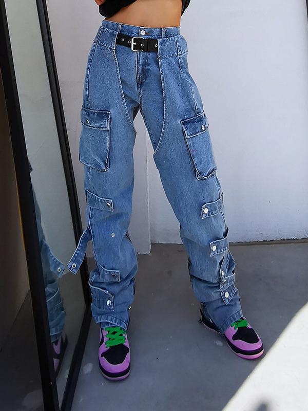 Pockets Design High Waist Denim Jeans For Women