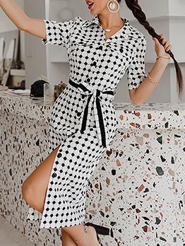 Polka Dots Single-Breasted Slit Summer Dresses