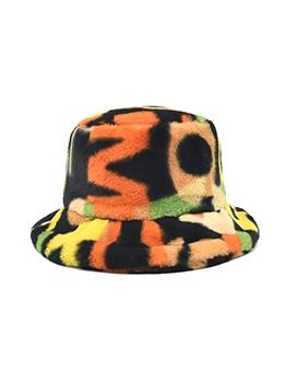 Rabbit Hair Contrast Color Fashion Bucket Hat