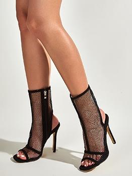 Peep-Toe Gauze High Heel Womens Boots
