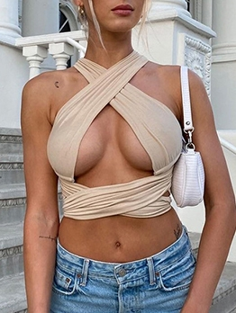 Sexy Cross Hollow Out Halter Tank Top