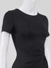 Hollow Out High Split Hem Short Sleeve Maxi Dress