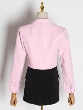 Colorblock Lapel Collar Women One Button Blazer
