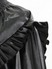 Ruffle Detail High Neck Black Pu Long Sleeve Dress