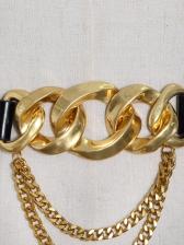 Crazy Chain Patch Black Belt For Women