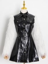 Fur Sleeve PU Single Breasted Boutique One Piece Dress