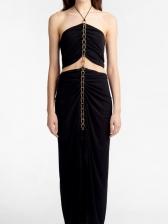 Boutique Chain Patchwork Ruched Halter Maxi Dress