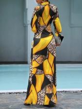 Color Block Leopard Patchwork Casual Maxi Dresses