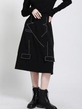 Boutique Irregular Geometric Embroidery A-line Skirt