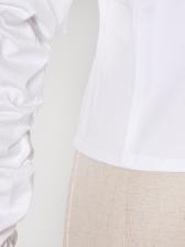 Fashion Lapel Collar Boutique Puff Sleeve Blouse