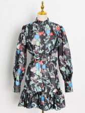 Stand Collar Printed Ruffled Hem Boutique Long Sleeve Dress